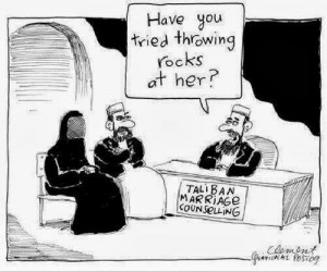 Funny Islam Joke Cartoon - Taliban marriage counseling - Have you ...