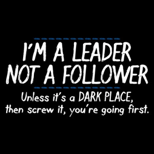 Leader Not A Follower, Unless It's A Dark Place, Then Screw It ...