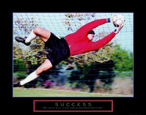 Soccer Goalkeeper Success (Diving Save) Motivational Poster - Front ...
