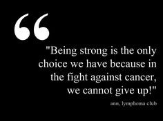... have because in the fight against cancer, we cannot give up ~Ann, More