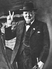 ... churchill flashing the v for victory symbol during world war ii
