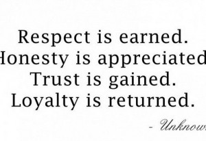 Respect, Honesty, Trust, and Loyalty