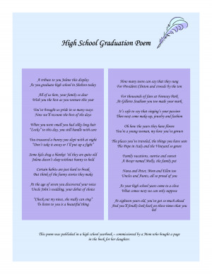 High School Graduation Poems by MaryJeanMenintigar