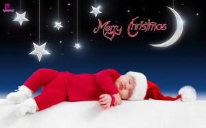 Sleeping Santa Kid Merry Christmas eCard Wallpaper Happy Holidays