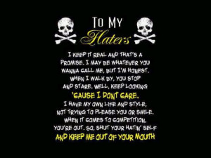 To my haters....