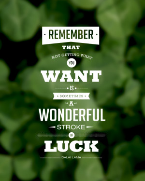 ... you want is sometimes a wonderful stroke of luck. ~ Dalai Lama Quote