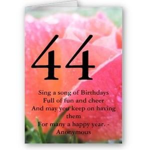 44th Birthday Quote Orange Rose Greeting Card