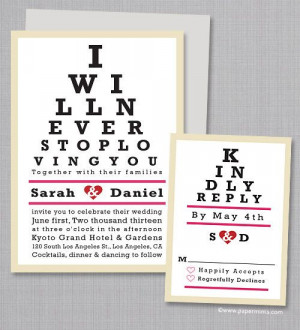 SAMPLE - I Will Never Stop Loving You, Eye Chart Wedding Invitation ...