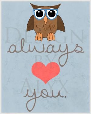 8x10 owl always love you print (blue)