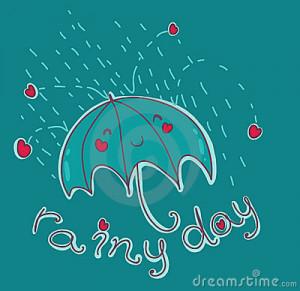 funny illustration of a smiling umbrella under the rain. Vector ...