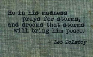 ... storms will bring him peace. ~ Leo Tolstoy, The Death of Ivan Ilych