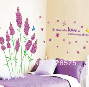 Removable Wall Stickers Love lavender and butterfly Home Decor / Self ...