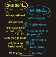 cute shirt with a he said she said quote for a crush party.