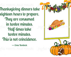 Hysterical Erma Bombeck Football An d Thanksgiving Quote Digital Print ...