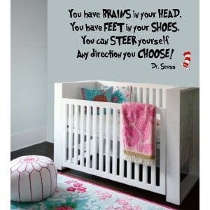 Dr Seuss Book Quote-Vinyl Wall Decal-BLACK-You Have Brains In Your ...