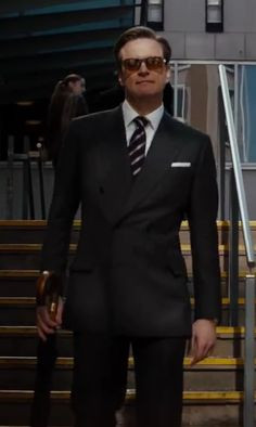Kingsman for Mr. Porter Navy Double-Breasted Pinstripe Suit as seen on ...