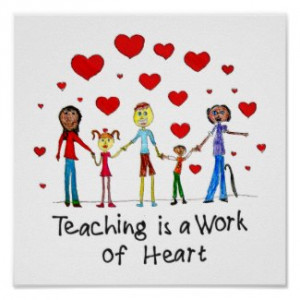 Teaching is a Work of Heart Square Poster by TeacherTools