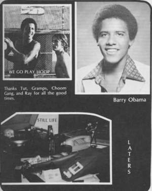 Barack Obama High School Yearbook Photo