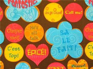 FRENCH-SAYINGS-WRITING-HIP-TRENDY-FLOWERS-DOTS-PINK-BLUE-BROWN-COTTON ...