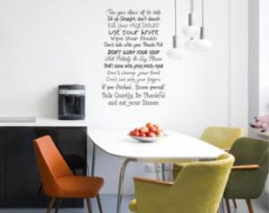 25x40 Table Manners Dinner Food eat ing Door Decoration Vinyl Decor ...