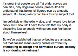 naturally skinny, I don't starve myself, so don't make me ...