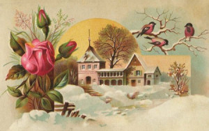Victorian Early Spring Art with Snow, Flowers and Birds - Click for ...
