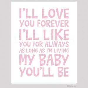 ll Love You Forever Quote Wall Art Print, Child Kids Room Decor ...