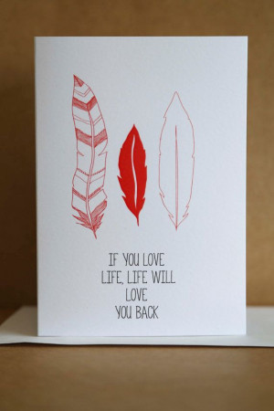 Love Life Greeting Card. Inspiration. Quote. Feathers. via Etsy