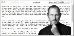 Steve Jobs speech hidden on the Mac as an Easter Egg