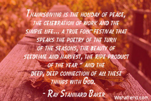 thanksgiving-Thanksgiving is the holiday of peace, the celebration of ...