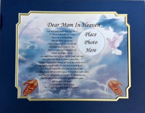 DEAR MOM IN HEAVEN MEMORIAL POEM GIFT LOSS OF LOVED ONE