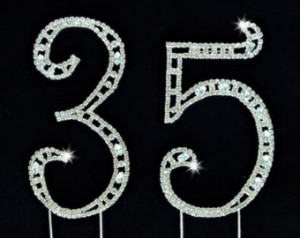35th Birthday Wedding Anniversary N umber Cake Topper Large Swarovski ...