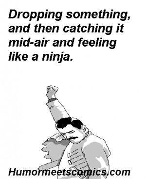 ... something, and then catching it mid-air and feeling like a ninja