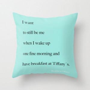 breakfast at tiffany s pillow quotes aqua blue housewares home decor ...