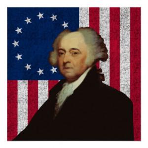 John Adams and The American Flag Print