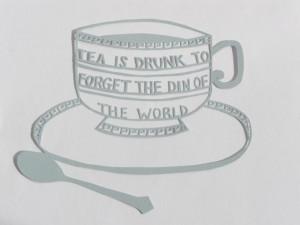 QUOTE PAPERCUT // tea cup design // hand cut original // wedgewood ...