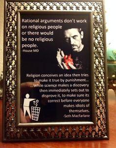 ... MD & Seth MacFarlane atheist anti-religion best quote ever! 4x6 GIFT