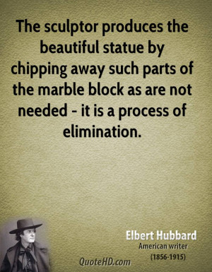 The sculptor produces the beautiful statue by chipping away such parts ...