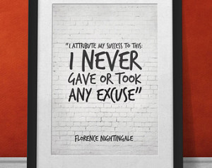 Florence Nightingale Success Quote Print, I atribute my success to ...