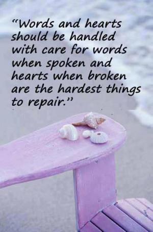Quote on spoken words and broken hearts