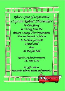 At the Fire Hall - Retirement Party Invitations