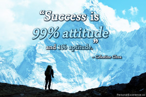 "Inspirational Quote: ""Success is 99% attitude and 1% aptitude ..."