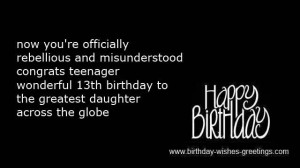 short 13th birthday wishes for daughter