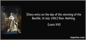 ... storming of the Bastille, 14 July 1789:] Rien. Nothing. - Louis XVI