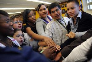 High School's debate team huddle before the Baker Hostetler Debate ...