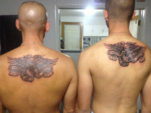 Father and Son tattoos with the dates that each of us became U.S ...