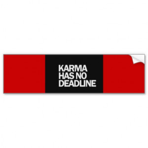 KARMA HAS NO DEADLINE FUNNY QUOTES SAYINGS COMMENT CAR BUMPER STICKER