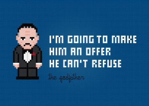 Embroidery: The Godfather Quote Cross Stitch