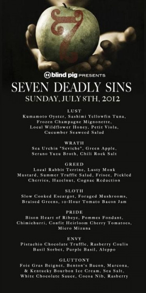 Blind Pig Supper Club's Seven Deadly Sins Dinner in Asheville, NC ...