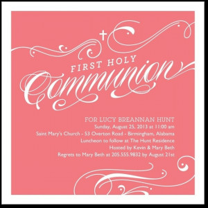 ... Swirls: Wild Strawberry - Communion Invitations in Wild Strawberry